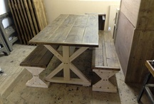 Ideas for snug hut  / This cross legged table made from rustic reclaimed timber.