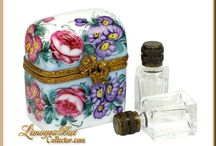 Perfume Limoges Boxes / Collectible Perfume Bottles and Perfume Chest Limoges boxes, hand-painted in Limoges, France. www.LimogesBoxCollector.com