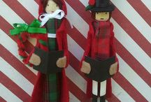 Christmas Clothespin & Dolls Ornaments