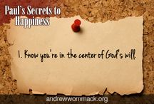 AWM Paul's Secrets to Happiness / Andrew has gleaned 20 lessons from the book of Philippians that reveal the Apostle Paul's secrets to happiness. http://www.awmi.net/store/usa/cd_albums/1084_c