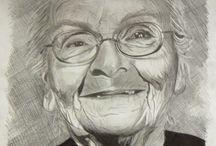 Yaşlı kadın karakalem