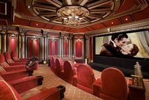 Home Theatre Room Inspiration / Bring the action of the movies to your own home by creating a home theatre setting. Let the movies take you to a world or romance, action and fantasy #Theatre #movies #Celebrity #Hollywood #InteriorDesign