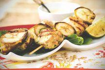 Receta de Brocheta de pavo con salsa de yogur con curry