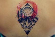 water color landscape and corgi tattoos