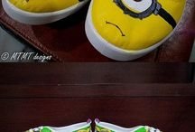 Shoes - minions / Hand painted canvas shoes with minions