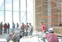 Башня Евразия / Мы снимали как шёл наш трудный, но безмерно выразительный проект - строительство общественных зон башни в Москва-Сити, участок 12 Рабочие моменты. Дизайн интерьера. Общественные зоны.