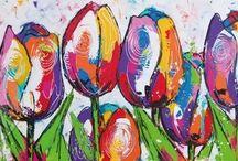 vrolijke schilderijen tulpen