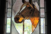 Paarden glas in lood