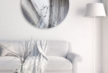 Circular Artwork / Unique circular artworks and circle shape canvases with abstract painting for dynamic contemporary interior design.