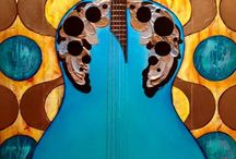 Original Art by Ginger Grasley / Acrylic and Metal Guitar ART