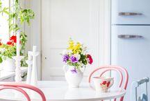retro pastel kitchen / retro kitchens , supplies , utensils