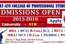 Admission open 2015-16 / Admission started for 2015-16 is started …Hurry up!! Shatayu College of Professional Studies based in the heart of India-Nagpur. Address: Plot no 5, Ring Road, Jalvihar Colony, New Hingna T-point,Nagpur Contact: 0712-3296377,2220236 Visit our college for more detail.... https://www.facebook.com/shat.ayugroup.ngp https://in.linkedin.com/pub/shatayu-group/ba/26b/b10 https://www.pinterest.com/shatayugroup/ https://twitter.com/shatayugroup http://shatayugroup.com/