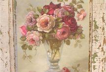 pintura de flores para decoupage