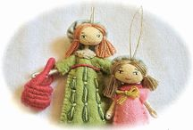 Dolls - Small, Bendable, Clothespin, Peg, Felt / More felt dolls in my felt boards