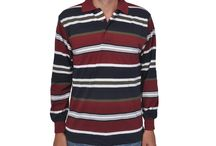 Striped Men's Long Sleeve Polo Shirts / Striped Men's Long Sleeve Polo Shirts
