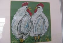 tekeningen met pastelkrijt en acrylverf / Zelf gemaakte tekeningen met pastelkrijt en schilderijen met acrylverf