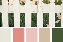 Pink, Beige, Green