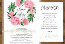 Zaproszenia ślubne z piwoniami różowymi / Zaproszenia ślubne i dodatki z rózowymi piwoniami