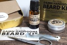 Toiletries / A selection of natural products for men from Men's Society Apothecary range, including beard oil, moustache grooming kit, shave brush, oil and cream. Paraben free.
