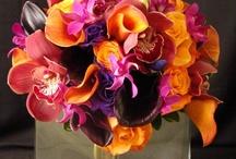 Orange and Purple  Wedding Flowers, Bouquets