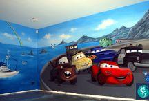 Muurschilderingen Cars / Zeer populair om de kinderkamer mee te decoreren zijn muurschilderingen met de figuren uit de Cars-films