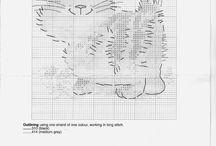Punto de cruz gatos / Gráficos punto de cruz