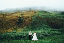 nadine ♥ wesley / Elegant, Gold, Berg, Mountains, Mist. Gorgeous, Roseball Candelabra. Pastels.
