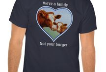 Farm Animal Art on Clothing & Gifts / Artwork featuring cows, chickens, goats, sheep, and other farm animals on various gift products including t-shirts, jewelry, coffee mugs, mouse pads, iPad cases, ornaments, clocks, pillows, towels, coasters, jigsaw puzzles, and more.