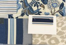 coordinating blue and white fabrics