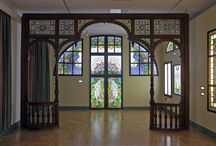 Miksa Róth Museum Budapest / This fabulous museum exhibits the work of the eponymous Art Nouveau stained-glass maker (1865–1944) on two floors of the house and workshop where he lived and worked from 1911 until his death. http://www.rothmuzeum.hu/galeria www.budapestdaytrips.com