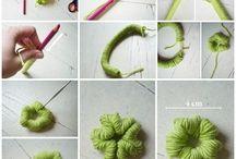 formar flores con lana