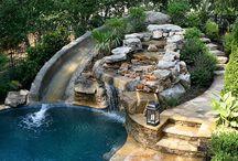 dom, bazen, okolie