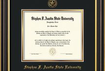 Stephen F. Austin State University - SFA - Diploma Frames & Graduation Gifts / Official SFA Diploma frames. Exquisitely crafted to exacting specifications for the SFA diploma. Custom framed using hardwood mouldings and all archival materials, including UV glass to prevent fading from sunlight AND indoor incandescent lighting! Each frame exceeds Library of Congress standards for document preservation and includes a 100% lifetime guarantee, ensuring that a hard-earned achievement will be honored and protected for generations. Makes a thoughtful and unique graduation gift!