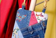 Recycled old jeans small purse