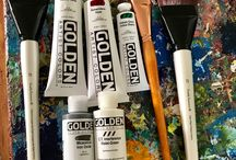 My art supplies. www.NestorToro.com / Nestor Toro abstract painter based in Los Angeles, California. My everyday and favorite art materials and supplies. #art #abstract #Acrylics