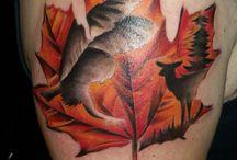 Ange's Tattoo / Owl & Deer within Maple Leaf