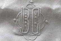 monogramme / vieux linge, nappes et serviettes anciennes, exemple de monogramme d'antan