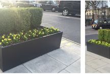 Steel Street Planters, London | Our Work / A large steel street planter, 2.5 x 2.5 metres square, designed, manufactured and installed for a prominent location on a major street in the heart of central London