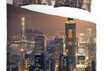 New York Skyline Duvet Sets / American Inspired New York Skyline Bedding