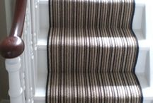 Striped Wool Carpet On Staircase / Client: Private residence in London. Brief: Over 100 metres of hand carved White Oak brushed & oiled rustic floors installed in a private residence in Hampstead, North London. Completion: Due to poor condition of existing floorboards a layer of ply was installed first & the new planks were fixed to the ply.