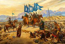 Selçuklu Türkleri (Seljuk Turks) / Selçuklu Devleti (Seljuk Empire) kurucuları, Orta Asya'dan batıya göç ederek Bizans İmparatorluğu'na komşu oldular. Abbasi Halifesi tarafından İslam'ın koruyucusu ilan edilen Selçuklular ve Bizanslılar ile yaptıkları Malazgirt Savaşı ile ilgili hikayeleri bu panoda bulabilirsiniz.