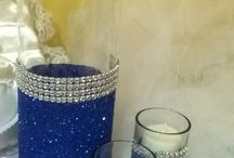 royal blue glitter vase