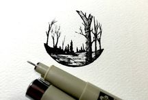 pen and ink drawings trees landscapespen and ink sketch