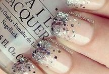 Glinted nude nails