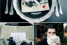 scarlet, black & white wedding