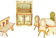 Art Craft Painted Furniture for Dolls Creative Art / The Art Craft Furniture for Dolls is an unique set of furniture handmade painted. Each piece is panted differently, each side of each object is painted differently. The entire set is unique. The product is addressed to the collectors.