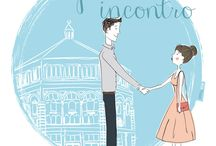 Love story / Serie di mie illustrazioni realizzate per un tableau de mariage. Illustrations made by me for a tableau de mariage.