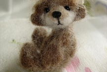 felted  bears and foxes