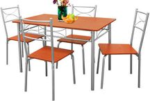 Dining Table Set Kitchen Chairs Bistro Patio Breakfast Food MDF
