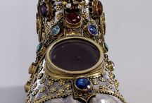 Reliquaries and relics. / A collection of pins related to my ongoing fascination with religious relics, reliquaries, incorruptibles, and the like. / by Anne Greiff